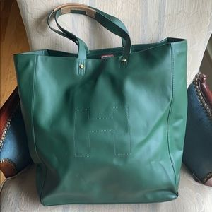 Green Hunter Leather Tote Bag